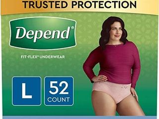 Depend FIT Flex Incontinence Underwear for Women  Disposable  Maximum Absorbency  large  Blush   Packaging May Vary