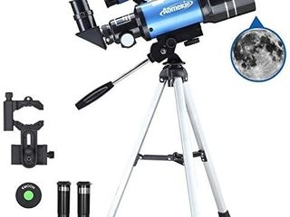 AOMEKIE Telescope for Astronomy Beginners Kids Adults 70mm Astronomical telescopes with Smartphone Adapter 3X Barlow lens
