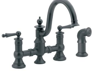 Moen S713WR Waterhill Two Handle High Arc Kitchen Faucet  Wrought Iron