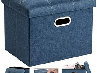 COSYlAND Ottoman with Storage for Room Folding Ottoman Foot Stool Footrest Seat linen Fabric Ottoman Rectangle Collapsible Bench with Handles lid Toy Chest light blue l17 x W13 x H13 inches