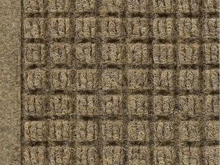 WaterHog Fashion Mat   Commercial Grade Entrance Mat with Fabric Border a Indoor Outdoor  Quick Drying  Stain Resistant Door Mat  Camel  4  x 6