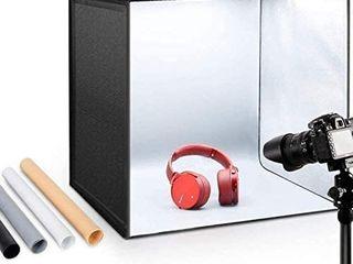 ESDDI Photo Studio light Box 20 50cm Adjustable Brightness Portable Folding Hook   loop Professional Booth Table Top Photography lighting Kit 120 led lights 4 Colors Backdrops