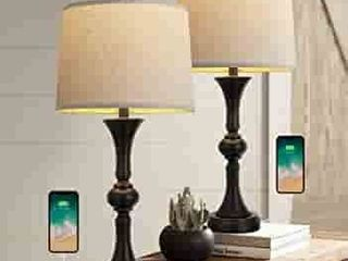 Oneach Traditional Table lamps Set of 2 with USB Charging Port for living Room 29 25a Nightstand lamp for Bedroom Bedside Table lamp with Neutral Drum Shade Black