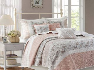 6pc Full Queen Stella Cotton Percale Reversible Coverlet Set   Blush