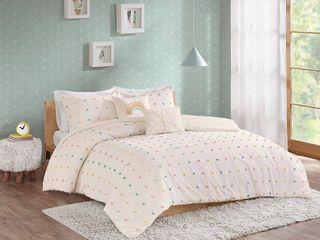 Urban Habitat Kids Callie Full Queen 5 Piece Cotton Jacquard Pom Pom Comforter Set Bedding