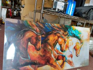 3 horses print on canvas 24 x48  Canvas ready to hang