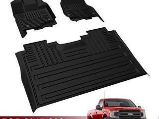 Floor Mats for 2015 2021 Ford F150 SuperCrew Cab  All Weather Guard TPE Front   2nd Seat Floor liners Accessories  Black