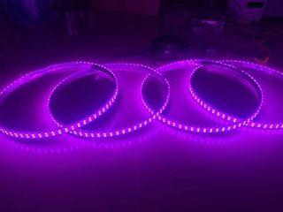 Sando Tech RGB IP68 Waterproof Double Row Dual Raw 300leds Brightest Strobe 15 5aa led Illuminated Wheel Ring lights Rim lights 4 Plugs Car Tire lights Blue Tooth APP Control Multi Colors 4 lights