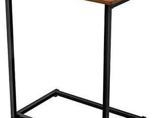 Homemaxs C Table Sofa Side Table  End Snack Table with Wood Finish and Metal Frame  Couch Tables That Slide Under for living Room and Small Spaces Easy Assembly