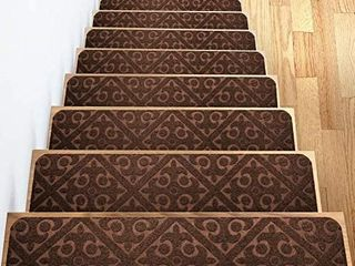 Carpet Stair Treads Set of 13 Non Slip Skid Rubber Runner Mats or Rug Tread   Indoor Outdoor Pet Dog Stair Treads Pads   Non Slip Stairway Carpet Rugs  Brown  8  x 30  Includes Adhesive Tape