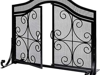 Amagabeli Fireplace Screen with Doors large Flat Guard Fire Screens Outdoor Metal Decorative Mesh Solid Wrought Iron Fire Place Panels Wood Burning Stove Accessories Black