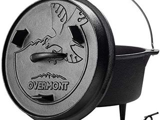 Overmont Camp Dutch Oven Pre Seasoned Cast Iron lid Also a Skillet Casserole Pot with lid lifter for Camping Cooking BBQ Baking 6QT