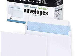 Quality Park 6 3 4 Security tinted Envelopes With Peel   Seal 100 pack White
