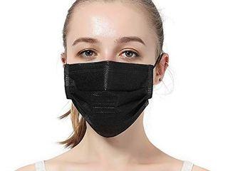 50pcs 3 layers PlY Black Disposable Face Masks  Hyegiir Comfortable Elastic Earloops Face Masks