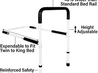 Vaunn Medical Adjustable Bed Assist Rail Handle and Hand Guard Grab Bar  Bedside Safety and Stability  Tool Free Assembly  White Black  876 V