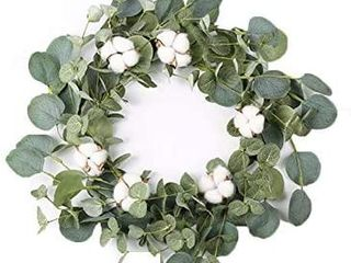lyrccoa 14  Artificial Eucalyptus Green leaf Wreath with Cotton  Outdoor Ornaments for Front Door