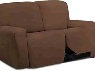 Easy Going 6 Pieces Microfiber Stretch Sectional Recliner Sofa Slipcover Soft Fitted Fleece 2 Seats Couch Cover Washable Furniture Protector with Elasticity for Kids Pet
