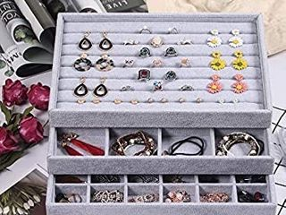 Coward Velvet Stackable Jewelry Organizer For Drawer Jewelry Tray Storage Ring Box Necklace Earring Organizer Bracelet Display Holder Set of 3 ring 12grids 24grids