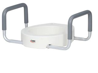 Carex Raised Toilet Seat With Handles  Standard Round Toilets  Adds 3 5 Inches to Toilet Height  Toilet Seat Riser For Handicap and Seniors