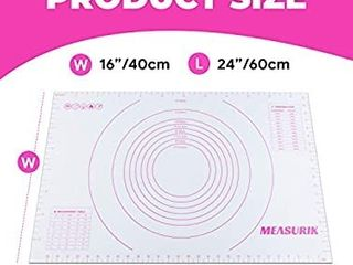 Measurik Extra large Silicone Pastry Mat   Non Stick 16 W 24 l  Silicone Baking Mat with Temperature and Measurement Table  Reusable Baking Oven liner Sheet Food Grade and BPA Free