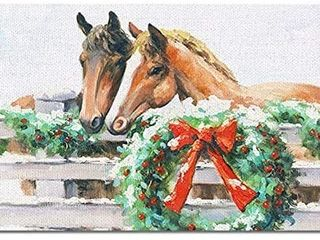 Christmas Wall Art Horse with Wreath Painting   linen Canvas Prints Animal Picture Stretched and Frame Ready to Hang for Christmas Decoration 16x24inch