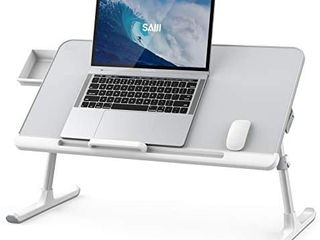 laptop Bed Tray Table  SAIJI Adjustable PVC leather Computer Bed Desk  Portable Standing Desk with Storage Drawer  Foldable lap Tablet Table for Sofa Couch Floor  Gray large