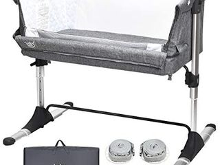 BABY JOY Baby Bedside Crib  Portable Travel Sleeper Bed Side Bassinet w Carrying Bag  Newborn Bassinet to Infant  Kids Crib with Detachable Mattress  Height   Angle Adjustable  Breathable Mesh  Grey