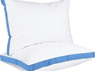 Utopia Bedding Gusseted Pillow  2 Pack  Premium Quality Bed Pillows   Side Back Sleepers   Blue Gusset   King   18 x 36 Inches