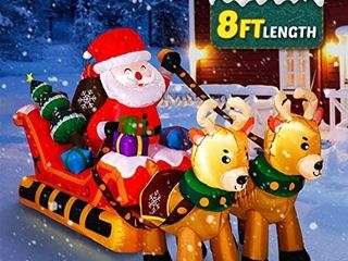 YUNlIGHTS Christmas Inflatables  8FT Christmas Inflatable Santa Claus on Sleigh with Two Reindeers   Gift  lED lights Blow up Christmas Decoration for Outdoor Indoor Yard lawn Holiday