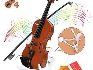 BAOlI Kids Simulation Violin Toys with Free Rosin  Chin Rest  Strings  Educational Musical Toy Violin for Toddlers Beginners Above 36 Months   Christmas Birthday Gifts for Boys Girls 1 4 Brown