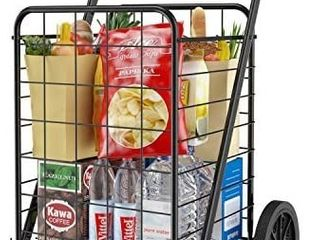 Grocery Cart with Wheels  Heavy Duty Foldable lightweight Shopping Cart  176lb large Capacity Shop Cart for Groceries  laundry  Pantry  Garage by AMADA HOMEFURNISHING AMTUC2