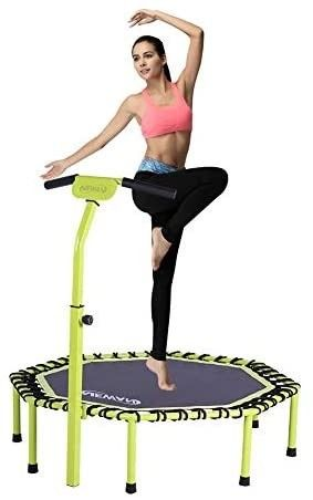 Newan 48  Silent Trampoline with Adjustable Handle Bar  Fitness Trampoline Bungee Rebounder Jumping Cardio Trainer Workout for Adults   Max limit 330 lbs