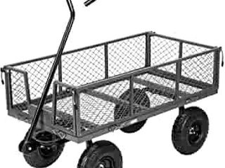 VIVOHOME Heavy Duty 1100 lbs Capacity Mesh Steel Garden Cart Folding Utility Wagon with Removable Sides and 10 Inch Wheels  Grey