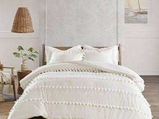 Madison Park leona Full Queen 3 Pc  Pom Pom Cotton Comforter Set Bedding