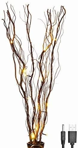 lightshare Upgraded 36Inch 16lED Natural Willow Twig lighted Branch for Home Decoration  USB Plug in and Battery Powered