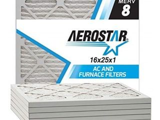Aerostar Clean House 16x25x1 MERV 8 Pleated Air Filter  Made in the USA  6 Pack
