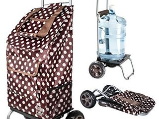 Dbest Products Trolley Dolly Brown Polka Dot Shopping Grocery Foldable Cart