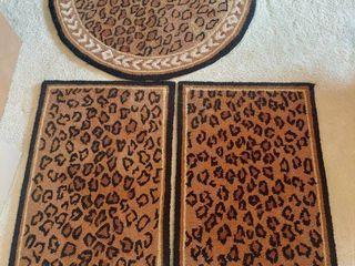 Set of 3 leppard Print Rugs