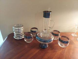 Silver Rim Beverage Set with Coasters