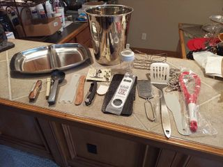 Assorted Utensils  Tray and Wine Chiller Bucket