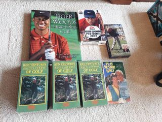 Tiger Woods Book   Game and Golf VHS Tapes