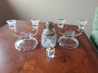 Candlesticks  Jar and Butterfly Perfume Bottle