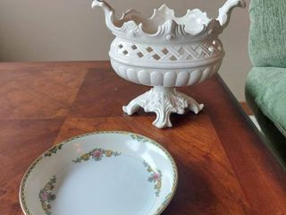 Noritake Bowl and Footed Compote  Made in Italy  Has a Crack