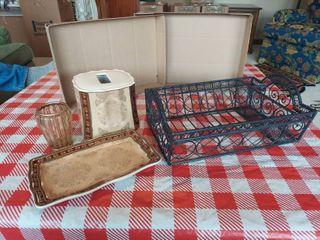 Metal Basket and Vanity Set