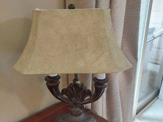 lamp with leather Shade   Has a Chip on Base
