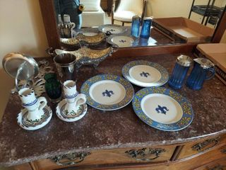 Blue Cream   Sugar  Plates and Candleholders