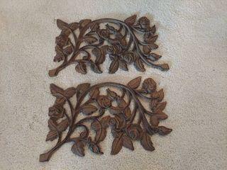 2 Cast Iron Flower Decor   1 is Broke