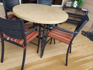 5 Piece Hampton Bay Cast Aluminum Patio Set   Counter Height Table and 4 Barstools