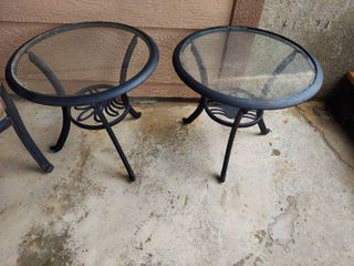 2 Metal Patio End Tables with Glass Tops