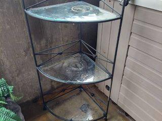 Corner Shelf   Metal with Glass Shelves